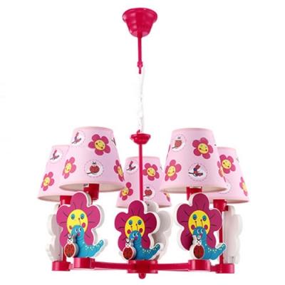 Red Finish Flower Design Hanging Chandelier Fabric Shade 5 Lights Suspension Light for Girls Bedroom