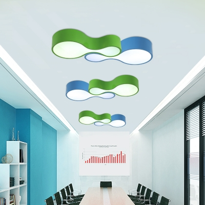 Acrylic Gourd Ceiling Lamp Minimalist Living Room LED Lighting Fixture in Blue/Green/Yellow/Red