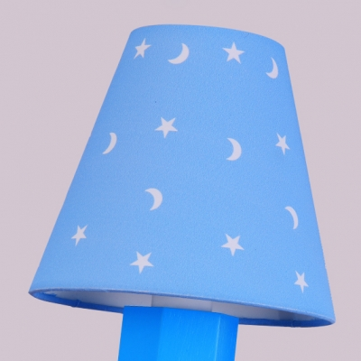 Blue Pencil Shape Wall Sconce Metallic Single Light Wall Lighting for Study Room Children Room
