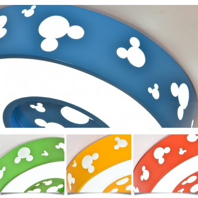 Cartoon Style Round LED Ceiling Lamp Game Room Acrylic Flush Light Fixture in White/Third Gear