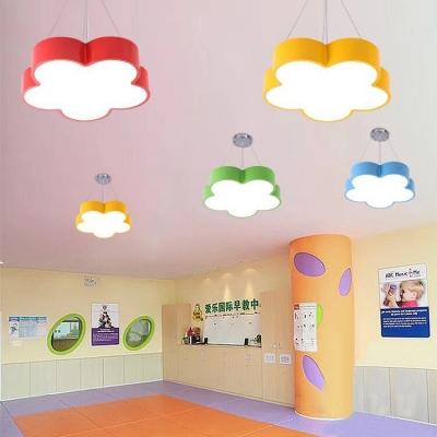 Girls Room Flower LED Ceiling Light Modern Acrylic Lighting Fixture in Blue/Green/Yellow/Red