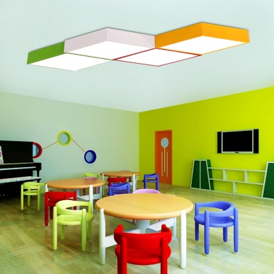 Acrylic LED Flush Mount with Geometric Shade Colorful Modern Chic Ceiling Fixture for Kids