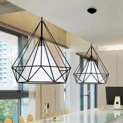 Iron Diamond Cage Pendant Lighting in Black