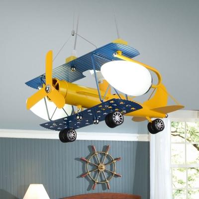 Yellow Biplane Chandelier Lamp Glass Shade 2/4 Lights Suspended Light for Boys Room Kindergarten