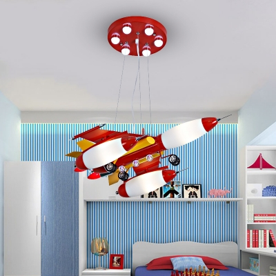 Airplane Chandelier Light Modern Children Bedroom Glass Shade 3 Lights Hanging Lamp in Warm/White
