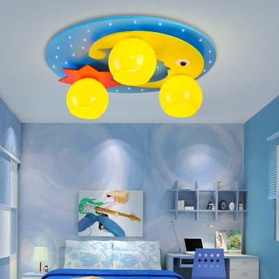 3 Lights Moon and Star Flushmount Children Bedroom Ceiling Lamp with