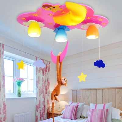 Cute 4 Lights Monkey Flush Light Nursing Room Decorative Wooden LED Ceiling Lamp in Blue/Pink