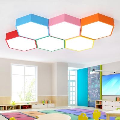 Hexagon 1 Head LED Flushmount Colorful Simple Amusement Park Office Acrylic LED Ceiling Lamp