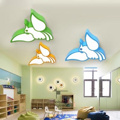 Cute Cartoon Parrot Flushmount Nursing Room Acrylic LED Ceiling Flush Mount in White/Third Gear