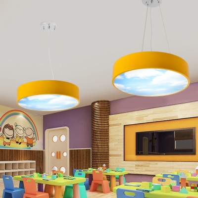 Unique Round Shade Hanging Light with Cloud Design Kindergarten Acrylic LED Lighting Fixture