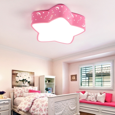 Adorable Star Shade LED Ceiling Lamp Contemporary Blue/Pink/Yellow Acrylic Lighting Fixture for Kids Room