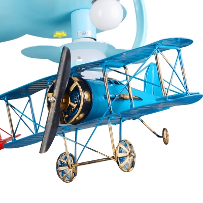 Retro Style Biplane Suspended Lamp Boys Room Glass Shade 6 Lights Flush Light in Blue/Silver/White