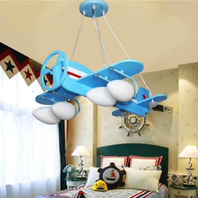 White Gl Shade Hanging Light With Plane Design Blue Yellow 2 4 Lights Chandelier