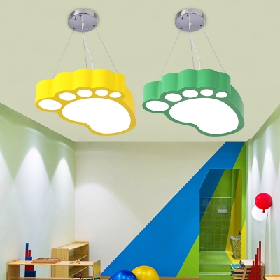 Creative Footprint Hanging Lamp Nursing Room Bedroom Acrylic LED Suspended Light in White