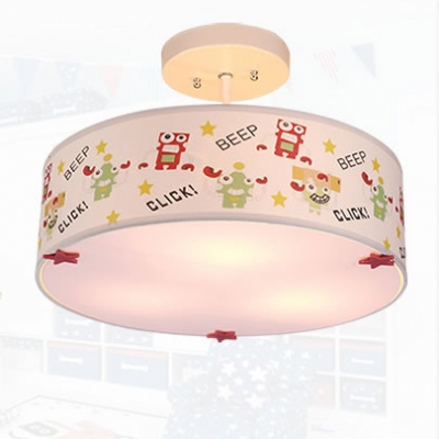 Fabric Drum Semi Flush Mount Cartoon Modern Children Bedroom 3 Lights Ceiling Lamp in White