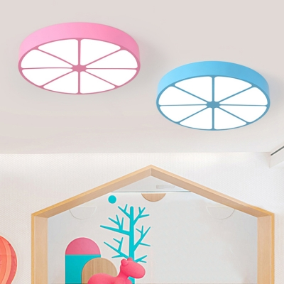 Acrylic Lemon LED Flush Light Contemporary Game Room Flush Ceiling Light in Blue/Green/Pink/Yellow