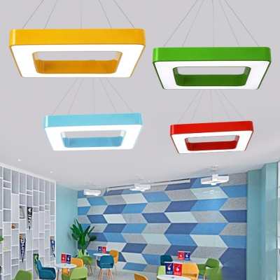 Colorful Stylish Square Hanging Light Sitting Room Acrylic Suspended Lamp In White Third Gear