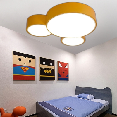 Acrylic LED Flush Mount with Cartoon Mouse Blue/Yellow/Red Ceiling Lamp for Amusement Park