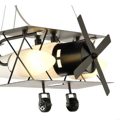 1/3 Light Prop Plane Pendant Light Vintage Style Boys Room Glass Shade Chandelier in Black/Brown