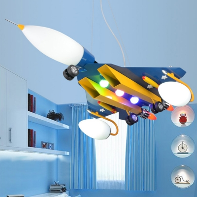 Metallic Chandelier Lamp with Aircraft Shape Blue 3 Bulbs Decorative Hanging Light for Boys Bedroom