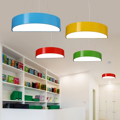 Semi Circle Led Pendant Lamp Contemporary Children Bedroom Acrylic Hanging Light In Blue Green
