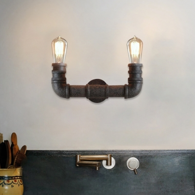 Industrial Vintage Rust Pipe 2 Light Wall Sconce for Barn Farmhouse Porch