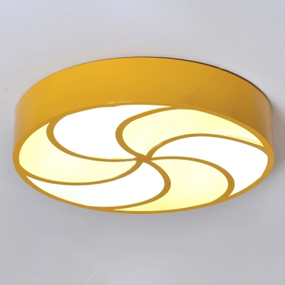 Eye Protection Acrylic Drum Flush Light Living Room Hallway LED Ceiling Lamp in White/Third Gear