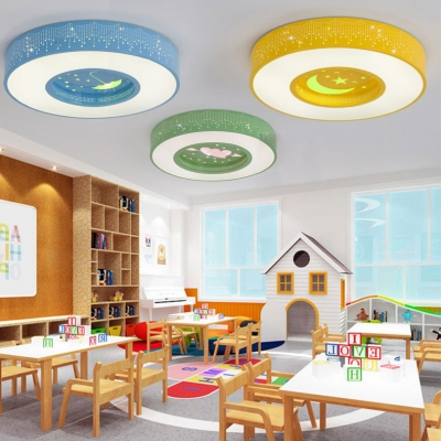 Eye Protection Round Flush Light Blue/Green/Yellow Acrylic LED Ceiling Fixture for Kids Children