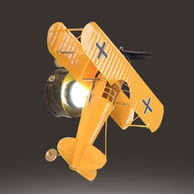 Plug In Biplane 1 Light Wall Sconce Blue/Yellow/Red Plastic Wall Light Fixture for Boys Room