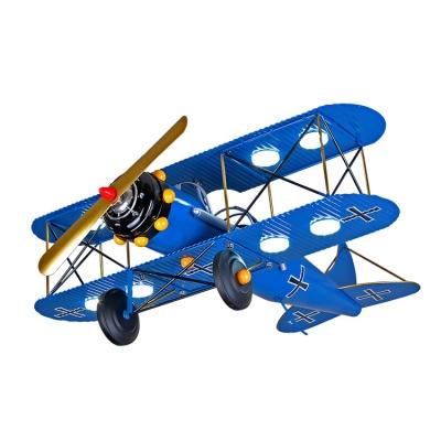 Vintage Retro Biplane 8 Lights Chandelier Navy Blue/Yellow/Red Metal LED Suspended Light for Amusement Park