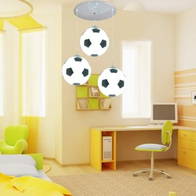 Football/Basketball 3 Lights Hanging Lamp Boys Bedroom Chrome Finish Glass Shade Lighting Fixture