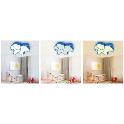 Modernism Elephant Flush Light Fixture Blue/Green/Yellow Acrylic LED Ceiling Light for Kids Game Room