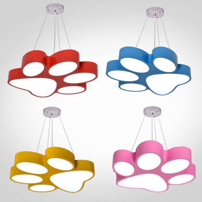 Cartoon Footprint Suspension Light Blue/Pink/Red/Yellow Acrylic Decorative Pendant Lamp for Kids