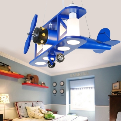 Biplane Shape Suspended Lamp Kindergarten Glass Shade 4 Lights Chandelier Lamp in Blue/Wood/Red