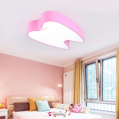 Acrylic LED Flush Mount with Tooth Shape Pink/Yellow Lighting Fixture for Children Bedroom