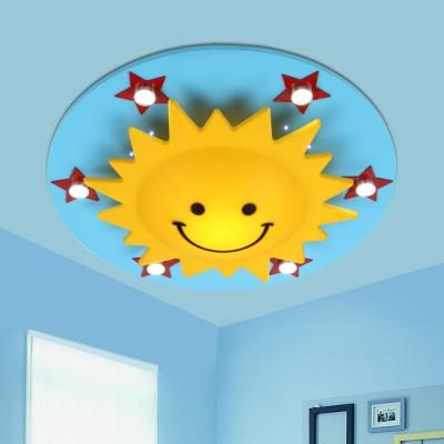 Multicolored Sun Flush Mount Decorative Plastic Multi Lights Lighting Fixture for Nursing Room
