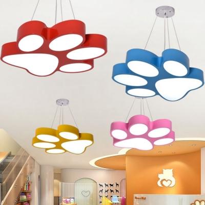 Cartoon Footprint Suspension Light Blue/Pink/Red/Yellow Acrylic Decorative Pendant Lamp for Kids