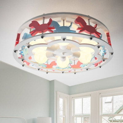 Carousel/Ferris Wheel Ceiling Lamp Modern Girls Room Wooden 6 Lights Semi Flush Mount in White
