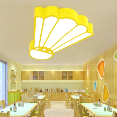Basketball/Badminton Flush Mount Sport Theme Kids Bedroom Acrylic LED Ceiling Lamp in Pink/Yellow