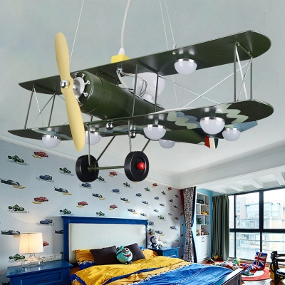 Green Prop Plane Suspended Lamp Metal 8 Lights Chandelier Light for Boys Bedroom Living Room