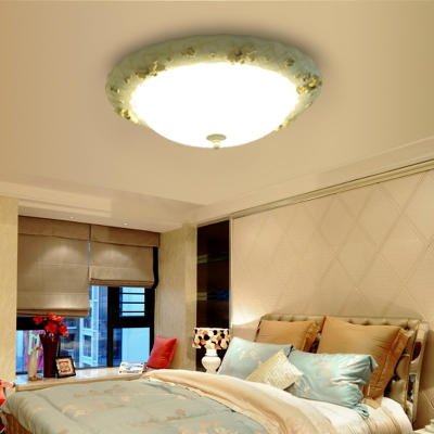 Ribbed Glass Bowl Ceiling Lamp with Bear Children Bedroom 1 Bulb Lighting Fixture in White
