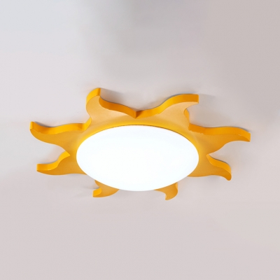 Cute Acrylic LED Flush Light with Sun Shape Blue/Green/Yellow/Red Ceiling Lamp for Kindergarten