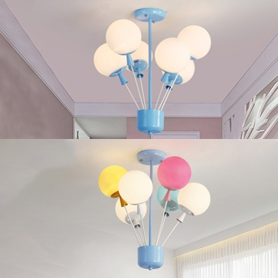 6 Lights Balloon Chandelier Baby Room Nursing Room Frosted Glass Suspension Light In Blue/Multi Color - Beautifulhalo.com