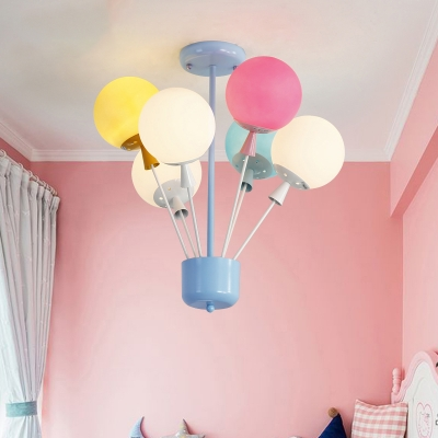 6 Lights Balloon Chandelier Baby Room Nursing Room Frosted Glass Suspension Light in Blue/Multi Color
