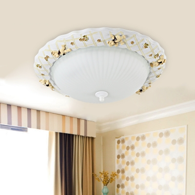 Ribbed Gl Bowl Ceiling Lamp With Bear Children Bedroom 1 Bulb
