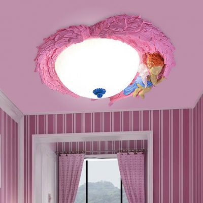 Bowl Shade LED Flush Light with Angel Decoration Kids Children Resin Single Light Ceiling Fixture in Blue/Pink/Yellow