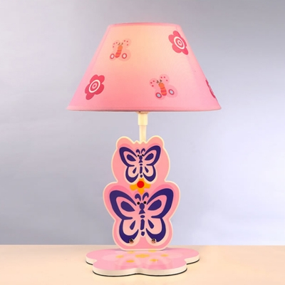 Lovely Butterfly 1 Bulb Table Lamp with Pink Fabric Shade Reading Light for Girls Bedroom