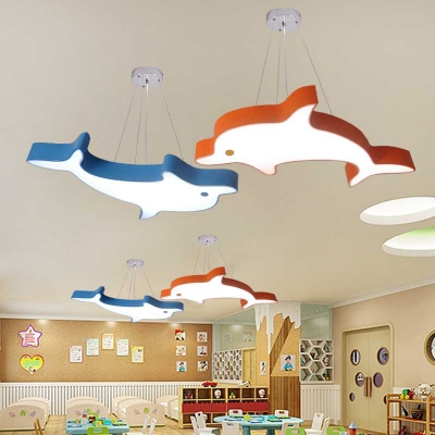Lovely Dolphin Shape Suspension Light Cartoon Kindergarten Acrylic LED Pendant Lamp in Blue/Orange