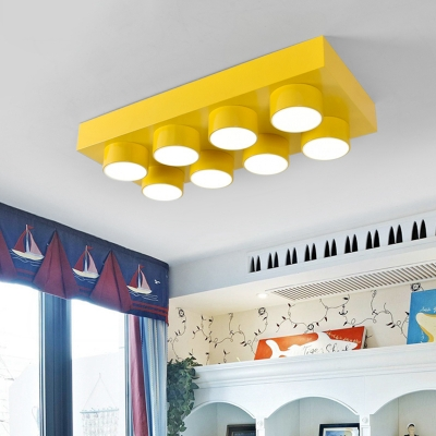 Creative Unique Toy Block Flush Light Modern Colorful Acrylic LED Ceiling Lamp for Kindergarten