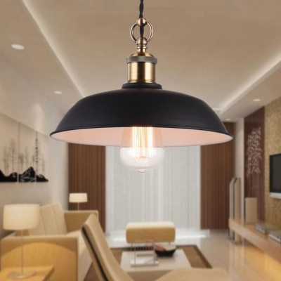 Vintage Style Matte Black Finish Open Bulb Pendant Light with Shallow Round Metal Shade